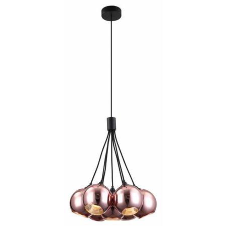 Lamp glazen bollen 7x roos goud of gerookt glas