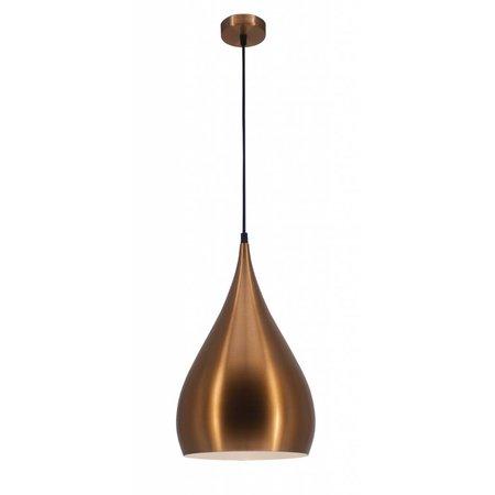 Druppel hanglamp zwart, koper, koffiebruin 25 cm breed
