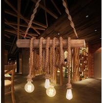 Hanglamp pendel hout touw vintage beige E27