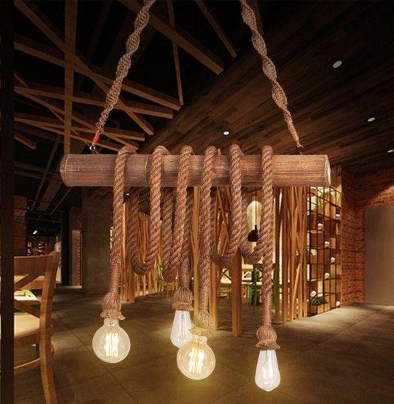 luminaire suspendu vintage bois corde beige e27 myplanetled. Black Bedroom Furniture Sets. Home Design Ideas