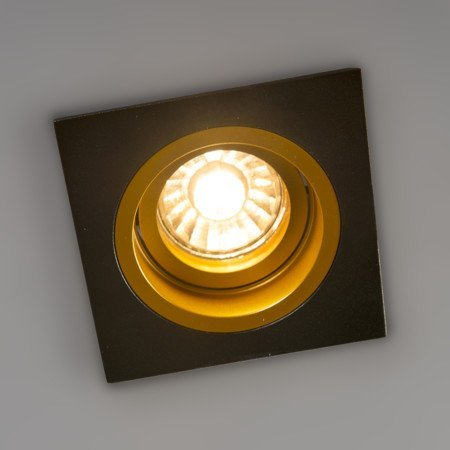 Square GU10 downlight black gold