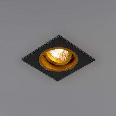 Inbouwspot vierkant zwart goud GU10