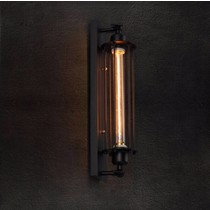 Vintage wall light fixture black and glass