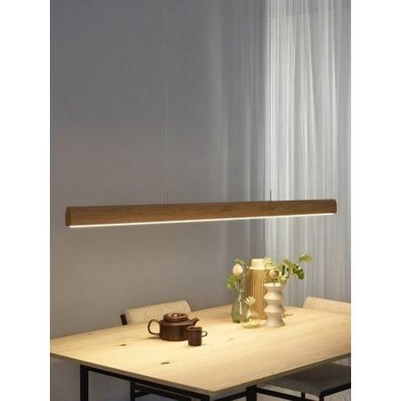 Brede hanglamp hout 125 of 185 cm LED dimbaar