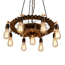 Suspension type industriel bois 65 cm