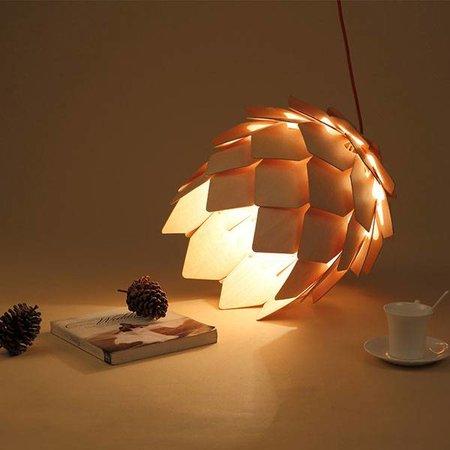 Flower pendant light wood 25 cm diameter