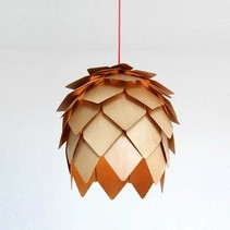 Flower pendant light wood 25 cm diameter