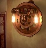Vintage wandlamp met tandwielen en kraan 420mm Ø 2x E27