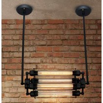 Hanglamp industrieel zwart glas 500mm E27x4