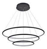 Suspension LED 3 anneaux blanc ou noir 99 W 80 cm