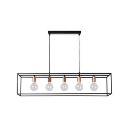 Eettafel hanglamp zwart met 5 lichtpunten