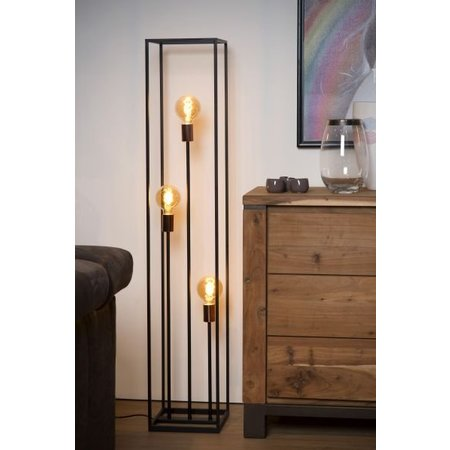 Black floor lamp for 3 lamps