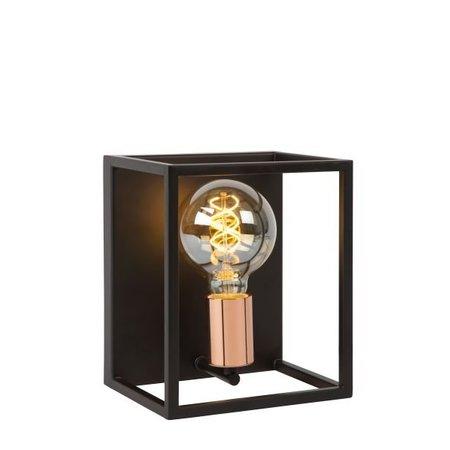 Kubus wandlamp zwart E27 lampvoet