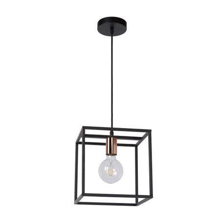 Kubus hanglamp zwart E27 lampvoet