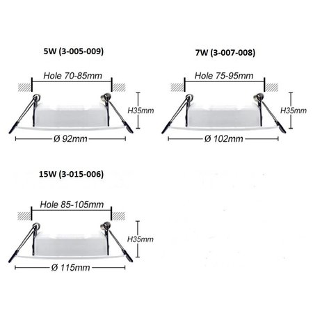 Inbouwspot diameter 95 mm IP65 5W LED (gat 85 mm)