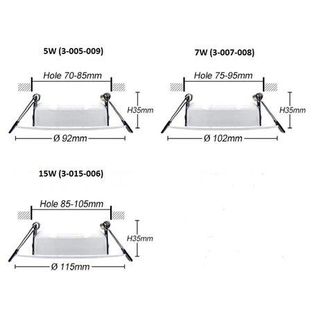 Inbouwspot zaagmaat 100 mm IP65 15W LED 35mm hoog