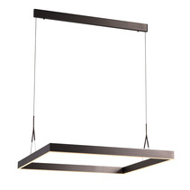 Suspension carrée LED blanc, noir, brun 90x90cm