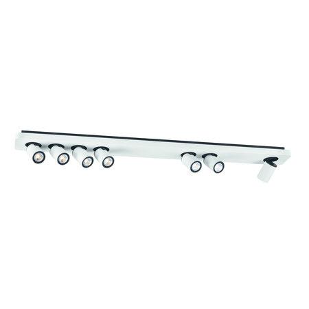 Lange plafondlamp 7x 4,5W LED wit, zwart 1350mm
