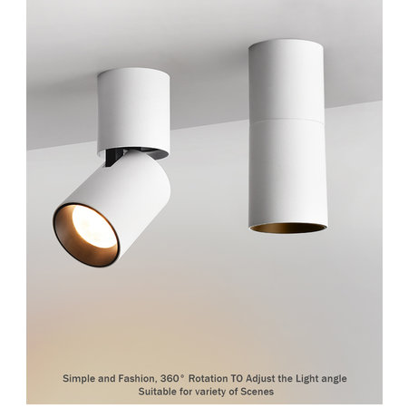 Cylinder ceiling light 7W LED black or white dimmable