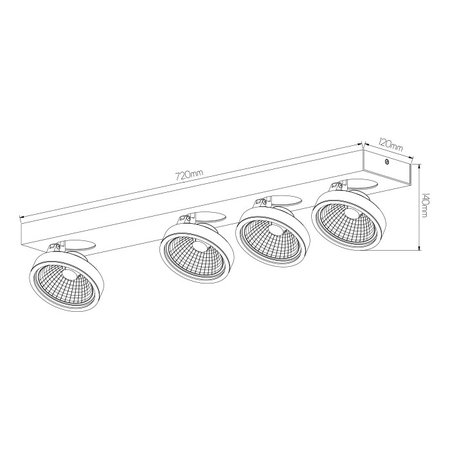 Ceiling spot with 4 x AR111 12W white or black