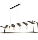 Luminaire suspendu noir ou rouille rustique E27x5 1500mm long