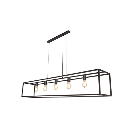 Pendant light black or rust rustic E27x5 1500mm long
