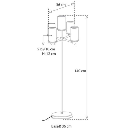 Rustic floor lamp design LED candle x5 chandelier 140cm