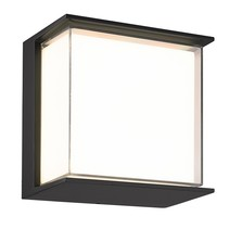 Black wall lamp with white plexiglass IP65 outside 9Watt
