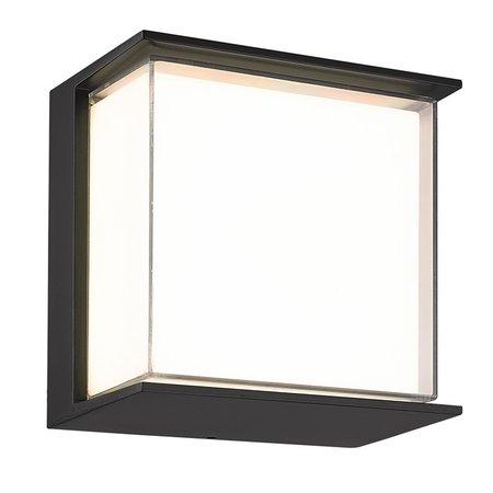 Zwarte wandlamp met wit plexiglas IP65 buiten 9Watt