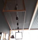Lampe suspendue chaîne en verre de style country 150 cm de long E27x5 avec verre fait main