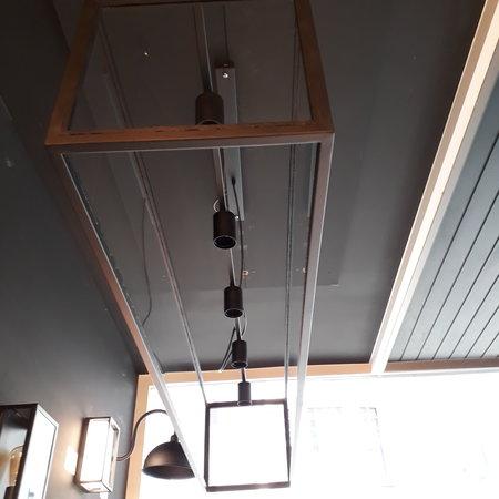 Hanglamp landelijke stijl glas ketting 150cm lang E27x5 met glas handgemaakt
