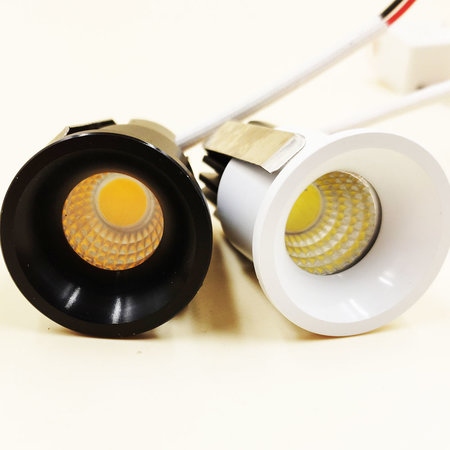 Inbouwspot 30mm mini 3W LED wit of zwart