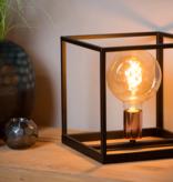 Cube table lamp black E27 lamp base