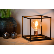 Cube table lamp black E27 lamp base