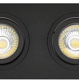 Spot encastrable double trou noir taille 80-175mm taille extérieure 95-190 mm