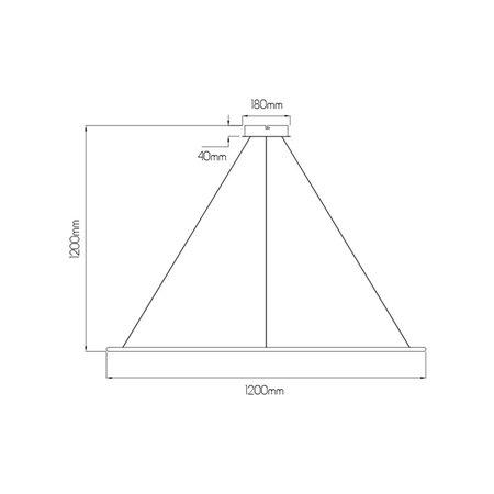 Cirkel lamp wit of zwart 64 W LED 120 cm