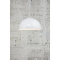 Hanglamp boven tafel diameter 300 mm of 400 mm halfrond met E27 fitting wit of zwart