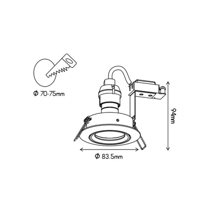 GU10 recessed spotlight without lamp round white, gray or black orientable