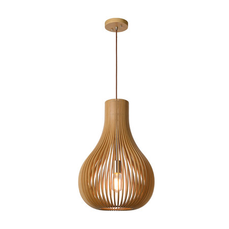Long wooden hanging lamp natural wood 380 mm diameter E27