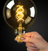 LED filament E27 petite lampe 5W spirale ambre ou fumé
