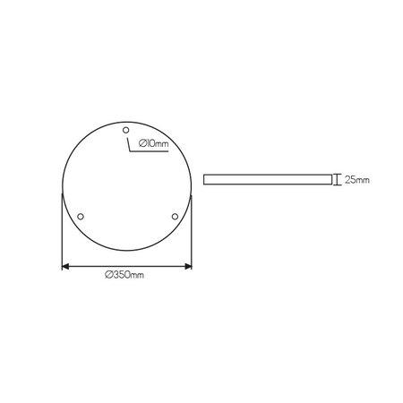 Rozet rond opbouw voor pendels diameter 350 mm