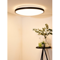 Round black ceiling lamp dimmable incl remote control dim-to-warm diameter 45 cm or diameter 55 cm