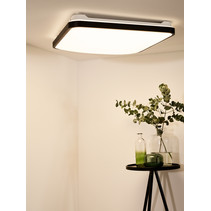 Square black ceiling lamp dimmable incl remote control dim-to-warm diameter 43 cm or diameter 54 cm