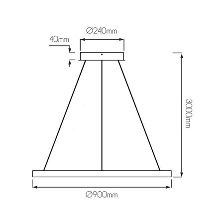 Hanglamp design rond LED zwart of wit 76W 900mm Ø licht up en down