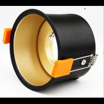Inbouwspot 90mm zwart goud/wit diep GU10