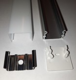 LED profiel opbouw  21 mm hoog 21 mm breed met licht aan 3 zijden van het profiel