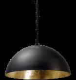 Hanging lamp black sphere dome of 30cm to 100cm diameter E27 gold leaf inside