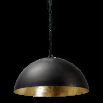 Lampe à suspension sphère noire dôme de 30cm à 100cm de diamètre E27 feuille d'or à l'intérieur
