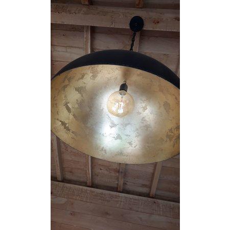 Hanglamp zwart sfeer koepel van 30cm tot 100cm  diameter E27 bladgoud binnen