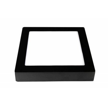 Plafonnier LED carré noir et blanc 235x235mm 18W